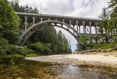 Cape Creek Bridge. Parabolic Arch Bridge At Cape Creek Over Highway 101 Along Oregon Coast Near Florence In Lane County stock photography