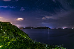 Cape D` Aguilar night view. It is the best location at Cape D& x27; Aguila in Hong Kong for sky shooting Royalty Free Stock Photography