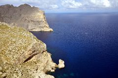 Cape de Formentor. Is an impressive landscape and one of the well known tourist attractions of Mallorca Royalty Free Stock Image