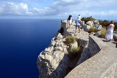 Cape de Formentor. Is an impressive landscape and one of the well known tourist attractions of Mallorca Stock Photos