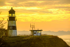 Cape Disappointment Lighthouse at sunrise, built in 1856 Stock Image