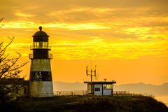 Cape Disappointment Lighthouse at sunrise, built in 1856 Royalty Free Stock Photos