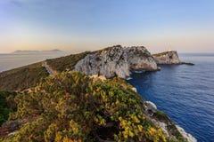 Cape Doukato, Lefkada island, Greece. Lighthouse during sunrise. Cape Doukato, Lefkada island, Greece Royalty Free Stock Photos