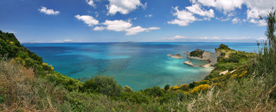 Cape drastis. Panorama of cape drastis on corfu island, greece Royalty Free Stock Photos