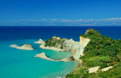 Cape Drastis with nearby islands. On Corfu island, Greece royalty free stock photo