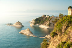 Cape Drastis at sunset, Corfu Island, Greece Royalty Free Stock Photos