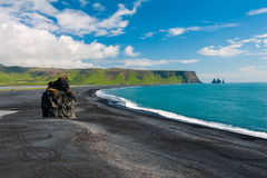 Cape Dyrholaey. Beautiful rock formation on a black volcanic beach at Cape Dyrholaey, the most southern point of Iceland royalty free stock images