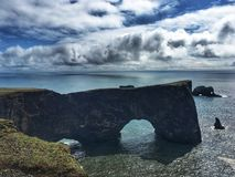 Cape Dyrholaey in Iceland. Famous rock formation on a Dyrholaey cape in south region of Iceland stock photos