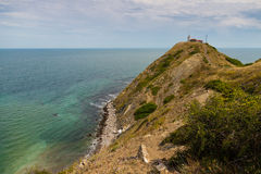 Cape Emine. Lighthouse at Cape Emine and the Black Sea in the distance Stock Images