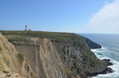 Cape Espichel lighthouse Cliffs. The lighthouse of Espichel in portugal with a sight of the beautiful cliffs Royalty Free Stock Photos