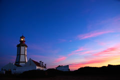 Cape Espichel lighthouse at dusk Stock Images