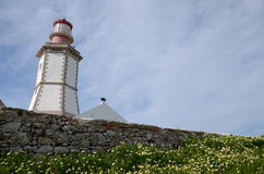 Cape Espichel lighthouse. The lighthouse of Espichel in portugal with the sun behind Royalty Free Stock Photography