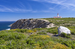 Cape Espichel lighthouse, Portugal. Cape Espichel lighthouse was built in the 18th century and is one of the oldest lighthouses in Portugal Stock Photography