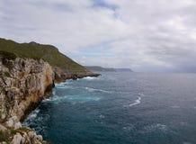 Cape Espichel shore. Ocean shore around Cape Espichel. Sesimbra, Portugal royalty free stock photos
