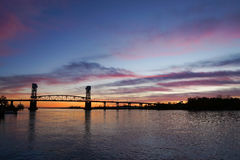 Cape Fear river bridge at sunset, Wilmington Stock Photo