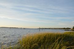 Cape Fear View. View along the Cape Fear River in Carolina Beach, North Carolina stock photos