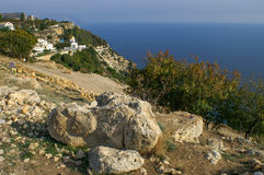 Cape Fiolent. Landscape Fiolent cape on the Black Sea coast. Rocks and blue sea Royalty Free Stock Photography