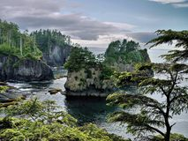 Cape Flattery. Many visitors to Neah Bay are drawn to the area by the Cape Flattery Trail, a three-quarter-mile hike to the tip of Cape Flattery, on the Makah royalty free stock images