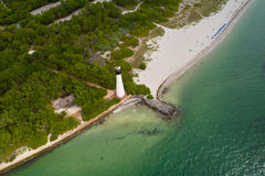 Cape Florida Key Biscayne lighthouse. Aerial image of the Cape Florida Key Biscayne lighthouse Stock Image