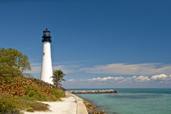Cape Florida lighthouse. Scenic view of Cape Florida lighthouse and coastline, Bill Baggs State Park, Key Biscayne, Florida, U.S.A royalty free stock photos