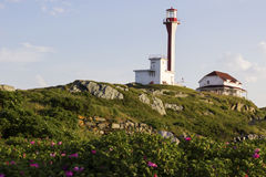 Cape Forchu Lighthouse in Nova Scotia in Canada. On a sunny day stock photo