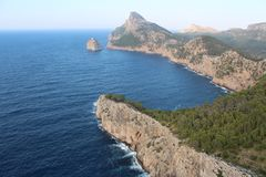 Cape Formentor in Majorca. Cape Formetor - extraordinarily beautiful stretch of rocky coastline in the north of the island royalty free stock photos