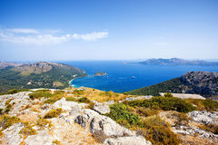 Cape Formentor in Mallorca, Spain. Cape Formentor and Pollenca bay in Mallorca, Spain Royalty Free Stock Photos