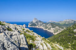 Cape Formentor and the Mediterranean Sea. Panoramic view of Cape Formentor. Mallorca. Panoramic view of Cape Formentor and the Mediterranean Sea on a sunny day Royalty Free Stock Photo