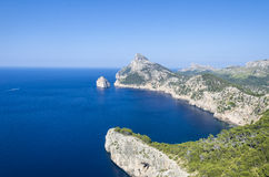 Cape Formentor and the Mediterranean Sea. Panoramic view of Cape Formentor. Mallorca. Panoramic view of Cape Formentor and the Mediterranean Sea on a sunny day Royalty Free Stock Images