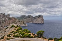 Cape formentor view on majorca balearic island in spain. Cape formentor and stormy weather at the mediterranean sea on mallorca balearic island in spain Stock Photo