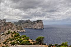 Cape formentor view on majorca balearic island in spain. Cape formentor and stormy weather at the mediterranean sea on mallorca balearic island in spain Royalty Free Stock Image