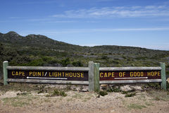 Cape of good hope and cape point signpost Royalty Free Stock Photo