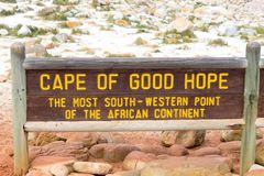 Cape of Good Hope sign, South Africa. African landmark Royalty Free Stock Photography