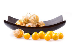 Cape Gooseberry in bowl on white background. Stock Photography