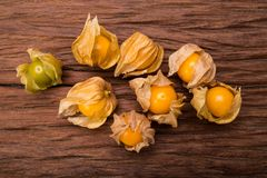 Cape gooseberry. On wood background stock images