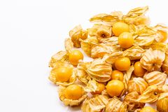 Cape gooseberry fruits Physalis peruvianaisolated on white background.Commonly called goldenberry, golden berry, Pichuberry. Close up Cape gooseberry fruits stock image