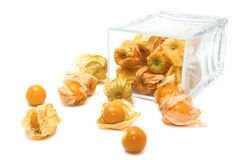 Cape gooseberry (Physalis) in the glass box Royalty Free Stock Photo