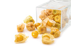 Cape gooseberry (physalis) in glass jar Stock Image