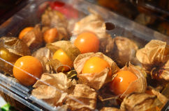 Cape Gooseberry in a plastic package Royalty Free Stock Images