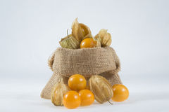 Cape gooseberry in small sack on white background Royalty Free Stock Images