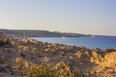 Cape Greco Cyprus at sunset Stock Image