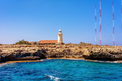 Cape Greco Lighthouse. Famagusta District, Cyprus Stock Image