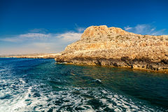 Cape Greco from the sea. View of the Cape Greco from the sea, Ayia Napa, Cyprus Stock Images