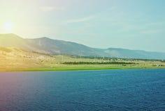 Cape hadarta. Maloe More Strait View, Baikal lake Royalty Free Stock Photos