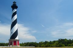 Cape Hatteras Lighthouse with Blue Sky Background stock images