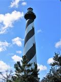 Cape Hatteras Lighthouse. Is 198 feet tall and a climb of 268 steps will take you to the top for a view of Hatteras Island and the ocean Stock Photos