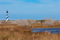 Cape Hatteras Lighthouse OBX North Carolina NC USA. Cape Hatteras Lighthouse towers over marsh wetland of Outer Banks island near Buxton, North Carolina, US stock photography