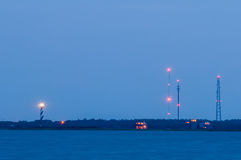 Cape hatteras lighthouse seen in distance from pamlico sound Royalty Free Stock Photos