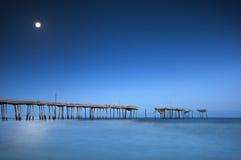 Cape Hatteras National Seashore NC Moonlight Ocean. Pier Outer Banks North Carolina Royalty Free Stock Photo