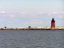 Cape henolpen lighthouses. At the entrance to the delaware bay Royalty Free Stock Photo